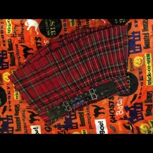 Plaid mini skirt w/attached double belt